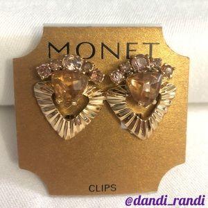 Monet Rhinestone Heart Clip On Earrings NOC